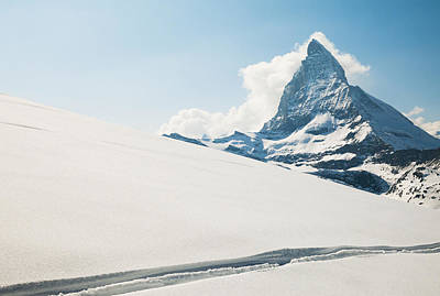 View Of The Matterhorn From A Snow Poster by Keith Levit