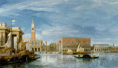 View Of The Molo And The Palazzo Ducale In Venice  Poster