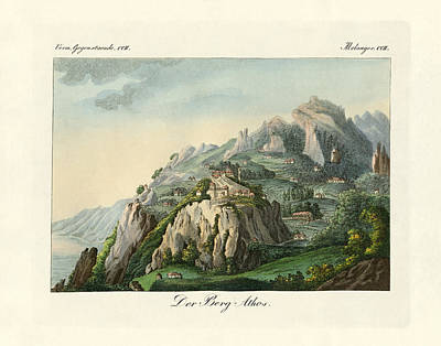 View Of The Mount Athos Poster by Splendid Art Prints
