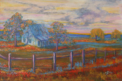 View Of The Old Farmhouse Poster by Kathy Peltomaa Lewis