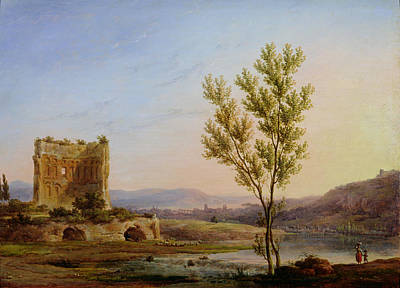 View Of The Outskirts Of Rome Oil On Canvas Poster by Pierre Henri de Valenciennes