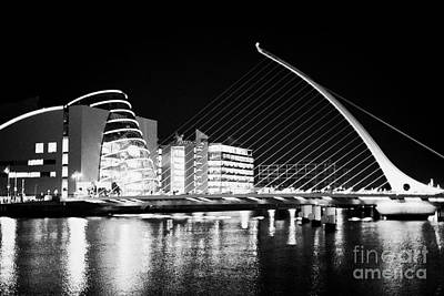 View Of The Samuel Beckett Bridge Over The River Liffey And The Convention Centre Dublin At Night Du Poster by Joe Fox