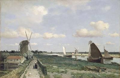 View Of The Trekvliet Canal Near The Poster by Johannes Hendrik Weissenbruch