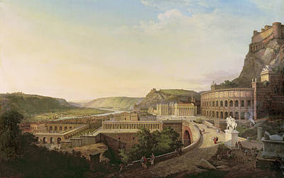 View Of Vienna In Roman Times, 1860 Oil On Canvas Poster by Etienne Rey