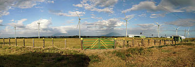 View Of Wind Turbines In Farm Poster by Panoramic Images