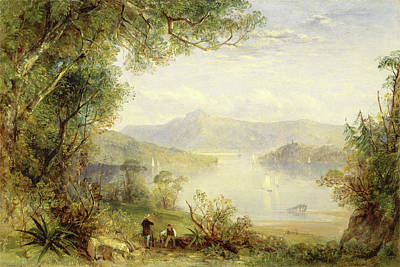 View On The Hudson River, Thomas Creswick Poster by Litz Collection