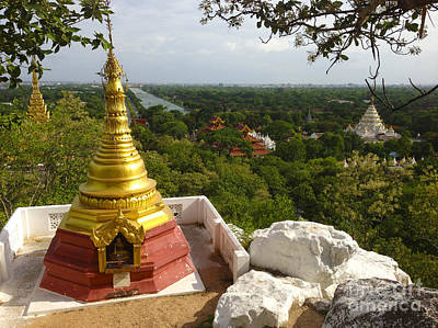 Poster featuring the photograph View Over Ancient City Of Mandalay Aungmyaythazan From Mandalay Hill Mandalay Burma by Ralph A  Ledergerber-Photography