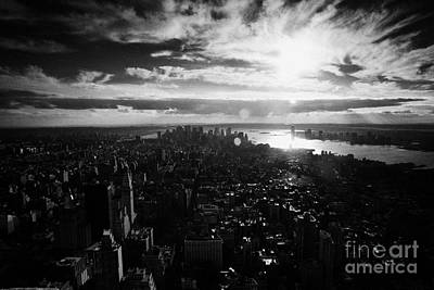 View Over Lower Manhattan At Sunset New York City Usa Poster by Joe Fox