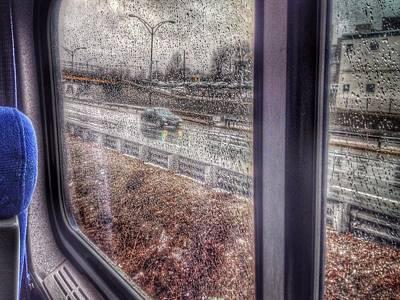 View Through Rainy Train Window Poster