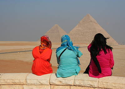 Poster featuring the photograph Viewing The Pyramids by Laurel Talabere