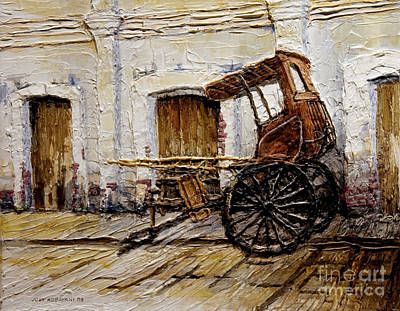 Poster featuring the painting Vigan Carriage 1 by Joey Agbayani