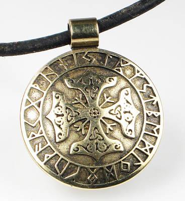 Poster featuring the jewelry Viking Celtic Cross With Rune Calendar by Vagabond Folk Art - Virginia Vivier