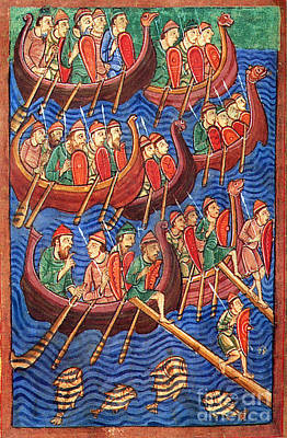 Vikings Invade England 9th Century Poster by Photo Researchers