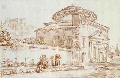 Villa Sacchetti, Rome Red Chalk On Paper Poster by Hubert Robert