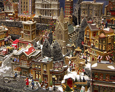 Village Christmas Scene Poster by Jon Berghoff