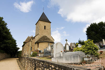 Village Church And Cemetery In France Poster by Patricia Hofmeester