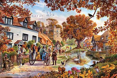 Village In Autumn Poster by Steve Crisp