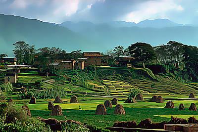 Village In Nepal Poster by Wernher Krutein