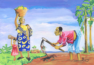 Poster featuring the painting Village Life In Cameroon 01 by Emmanuel Baliyanga