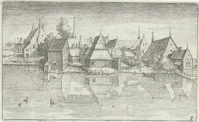 Village On A River, Hendrick Hondius Poster