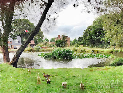 Village Pond Watercolor Poster