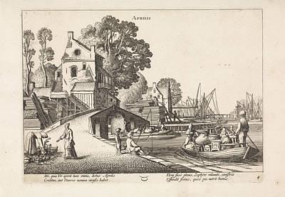 Village View With Activity On The Water April Poster by Jan Van De Velde (ii)
