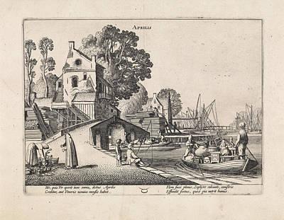 Village With Activity On The Water, April Poster by Jan Van De Velde (ii)