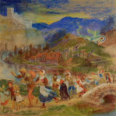 Villagers Fleeing From A Dragon Poster by Arthur Hughes