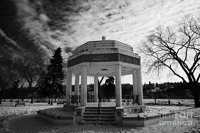 vimy memorial bandshell in snow covered kiwanis memorial park downtown Saskatoon Saskatchewan Canada Poster by Joe Fox