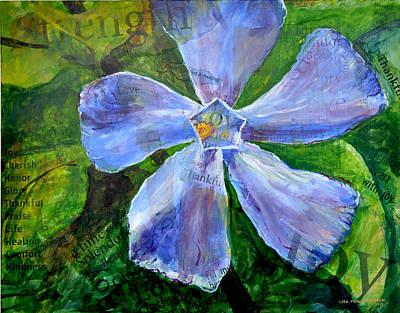 Poster featuring the painting Vinca Joy by Lisa Fiedler Jaworski