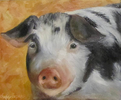 Poster featuring the painting Vindicator Pig Painting by Cheri Wollenberg