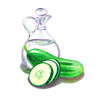 Vinegar Bottle And Cucumbers Poster by Irina Sztukowski