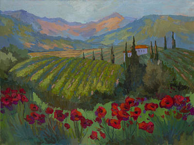 Vineyard And Red Poppies Poster by Diane McClary