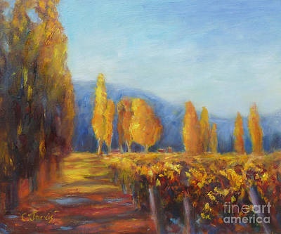 Vineyard Autumn Poster by Carolyn Jarvis