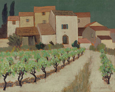 Vineyard, Provence Oil On Canvas Poster by Eric Hains
