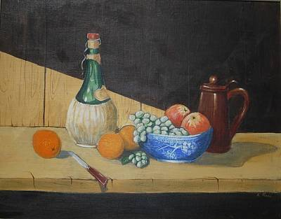 Poster featuring the painting Vino And Fruit by Anthony Ross