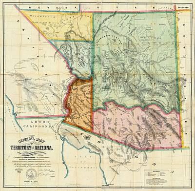 Vintage 1865 Arizona Territory Map Poster