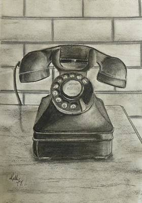Poster featuring the drawing Vintage 1940's Telephone by Kelly Mills