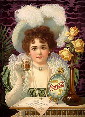 Vintage 5 Cent Coca Cola 1890 Poster