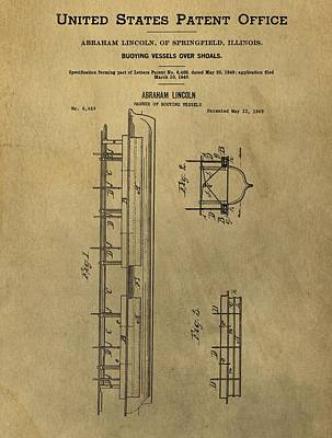 Vintage Abraham Lincoln Patent Poster by Dan Sproul
