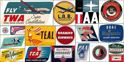 Vintage Airlines Logos Poster