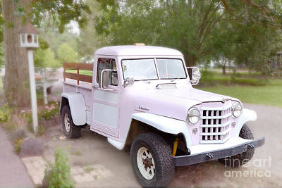 Vintage American Pink Truck - Vintage Pink 1950's Willy's Truck - Classic American Old Pink Truck  Poster by Kathy Fornal
