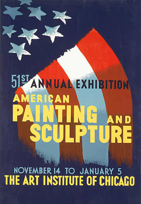 Poster featuring the mixed media Vintage Art Institute Of Chicago by American Classic Art