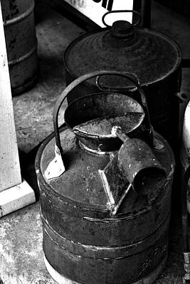 Poster featuring the photograph Vintage B/w Galvanized Container by Lesa Fine