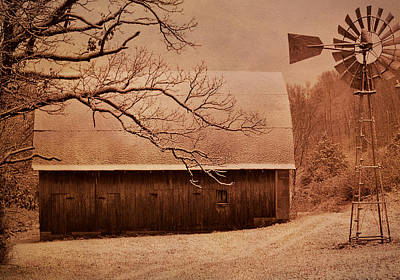 Vintage Barn And Windmill Winter Poster