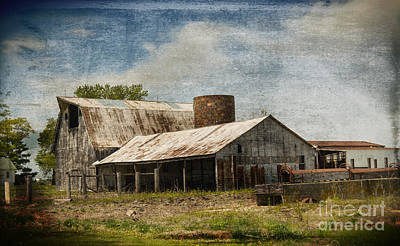 Barn -vintage Barn With Brick Silo - Luther Fine Art Poster by Luther Fine Art