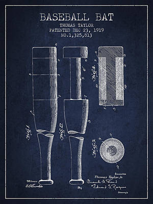 Vintage Baseball Bat Patent From 1919 Poster by Aged Pixel