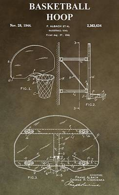 Vintage Basketball Hoop Patent Poster by Dan Sproul