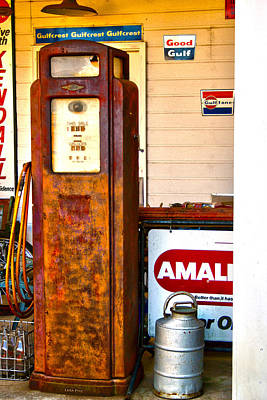 Poster featuring the photograph Vintage Bassett Gas Pump   by Lesa Fine