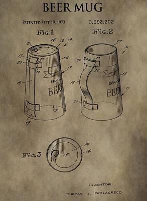 Vintage Beer Mug Patent Poster